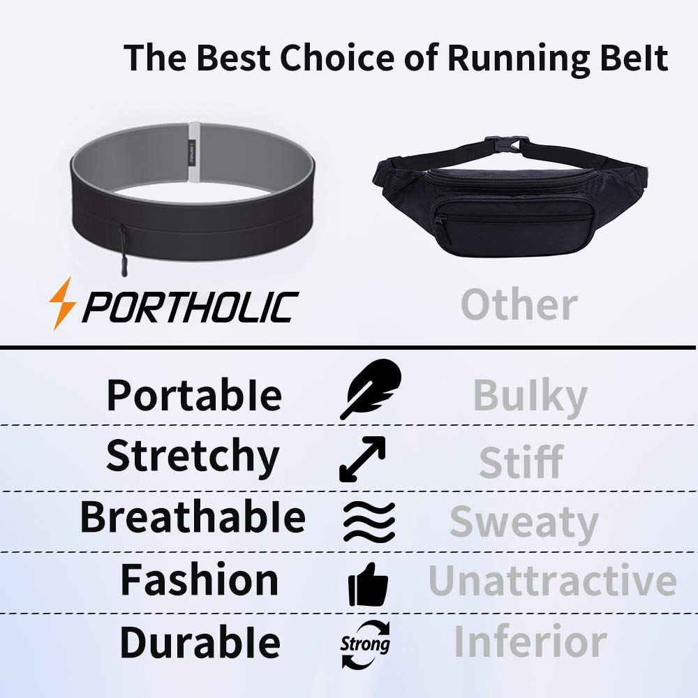 Black fitletic running belt Keys or Cards Suitable for Men and Women Hootracker Running Belt No Uncomfortable Buckles or Straps Unlike Most Runners Belts Great for Carrying Phones