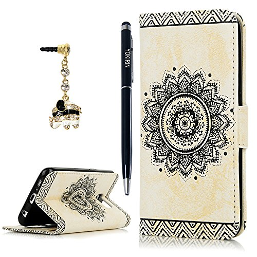 Galaxy S6 Case,YOKIRIN PU Leather Dream Catcher 3D Relief Totem Embossed Folio Flip Full Protective Cover with Credit Card Holder Kickstand Magnetic Closure and Cute Diamond Elephant Dust Plug,White