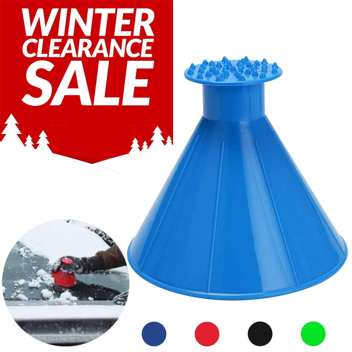 Funnel Scrape A Round Ice Scraper Cone Car Windshield Snow Scraper Shaped Windshield Snow Funnel Shovel Tool Will Scrape Pesky Frost and Ice from Windscreens and Side Windows with Ease (Blue) Shipping By FBA (Spring Promotion Only 3 Days)