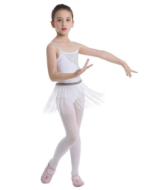 Agoky Vestido Latino Maillot Traje de Danza Niña con Borla Flecos Vestido de Tirantes con Lentejuelas Flor Vestido Blanco de Danza Latina Ballet con ...