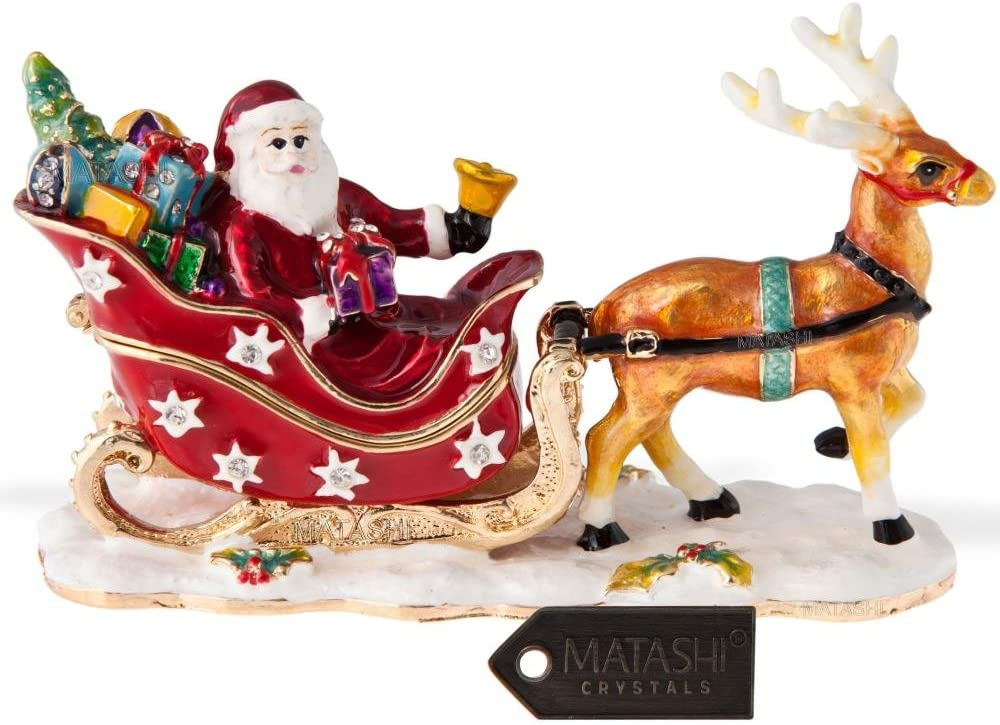 Matashi 24 K Gold Plated Santa's Reindeer Ornament Trinket Box Jewelry Holder for Women Keepsake Sleigh Home Decor Tabletop Showpiece Centerpiece Gift for Christmas Birthday Valentine's Day Holiday