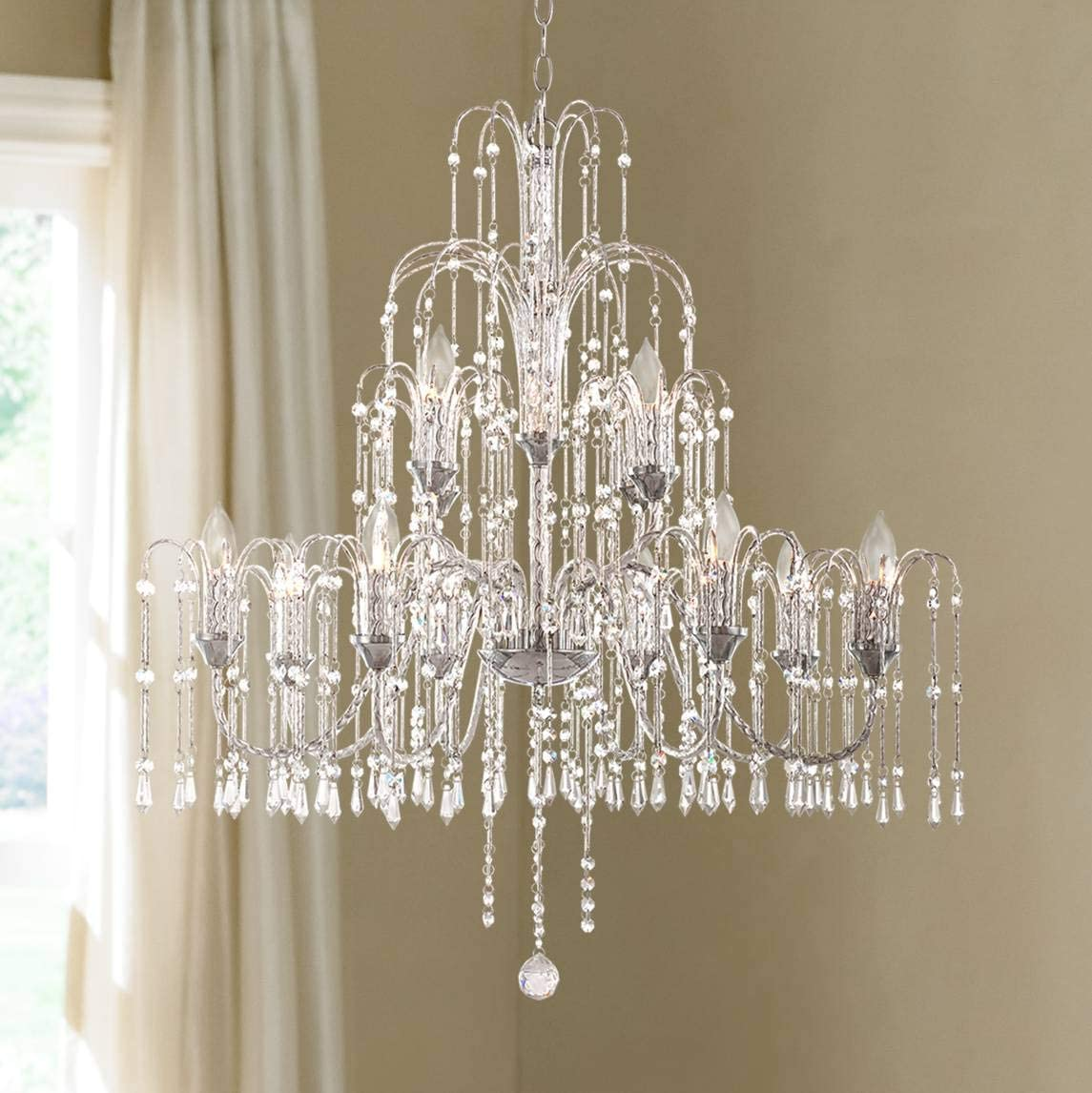 Crystal Rain Chrome Large Chandelier 33 Wide 12-Light Fixture for Dining Room House Foyer Kitchen Island Entryway Bedroom Living Room – Vienna Full Spectrum