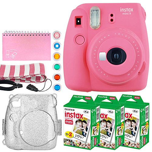 Fujifilm Instax Mini 9 Instant Camera (Flamingo Pink) + Fujifilm Instax Mini Twin Pack Instant Film (60 Exposures) + Glitter Case + Scrapbook Album + 6 Colored Lens Filters + Neck Strap – Full Bundle