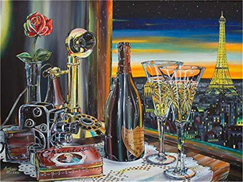 (Paint by Numbers Kits DIY Oil Painting Home Decor Wall Value Gift- Wine and Night Scene 16X20 Inch (Frame))