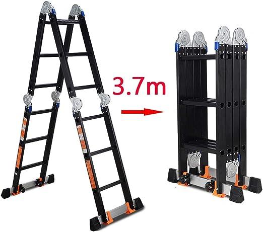 Escalera extensible/ Escalera telescópica Escalera Multiusos Escalera Plegable, Escalera de Aluminio Extensible Escalera de la Plataforma Plataforma Trabajo Pesado, Negro, 3.7 m: Amazon.es: Hogar
