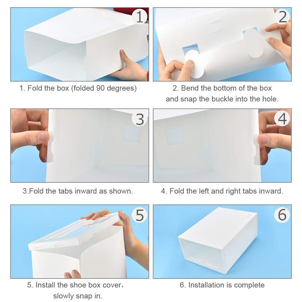 EMAGEREN 6pcs Cajas para Zapatos Cajas de Zapatos Transparentes Cajas de Zapatos Apilables Cajas para Zapatos Plastico Caja de Zapatos Plegable 2 Tama/ño Organizador de Zapatos para Hombre y Mujere
