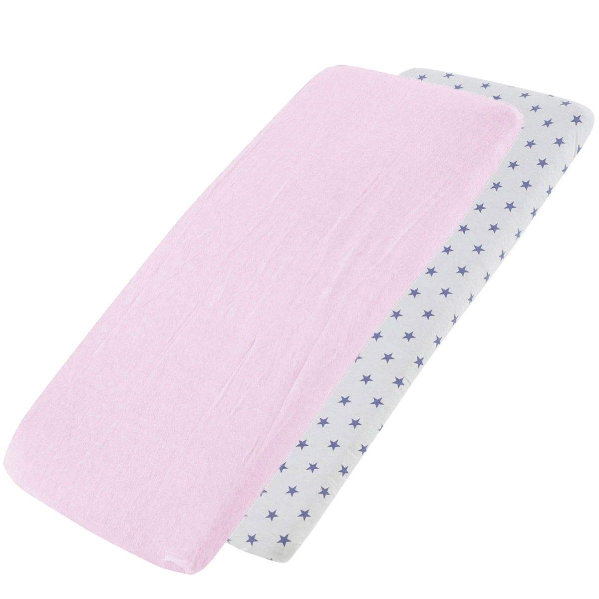 2X Blue Star Cot Fitted Sheet 100/% Cotton 120x60cm