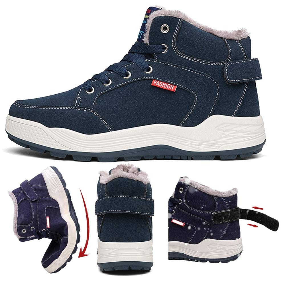 SITAILE Mens Snow Boots Winter Fur Lined Warm Shoes Waterproof Outdoor High Top Sneakers by SITAILE (Image #2)