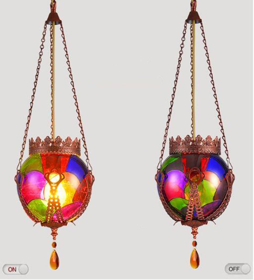 fandbo Color handgemalte Proceso Forma de Granada de cristal Shade Lámpara colgante, Multi-Color-, E27 50.00 wattsW 220.00 voltsV: Amazon.es: Iluminación