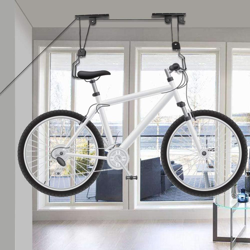 New Bike Bicycle Lift Ceiling Mounted Hoist Storage Garage Hanger Pulley Rack