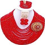 aczuv 16 Rows Women Fashion Costume African Beads Nigerian Necklace Crystal Bridal Wedding Jewelry Sets