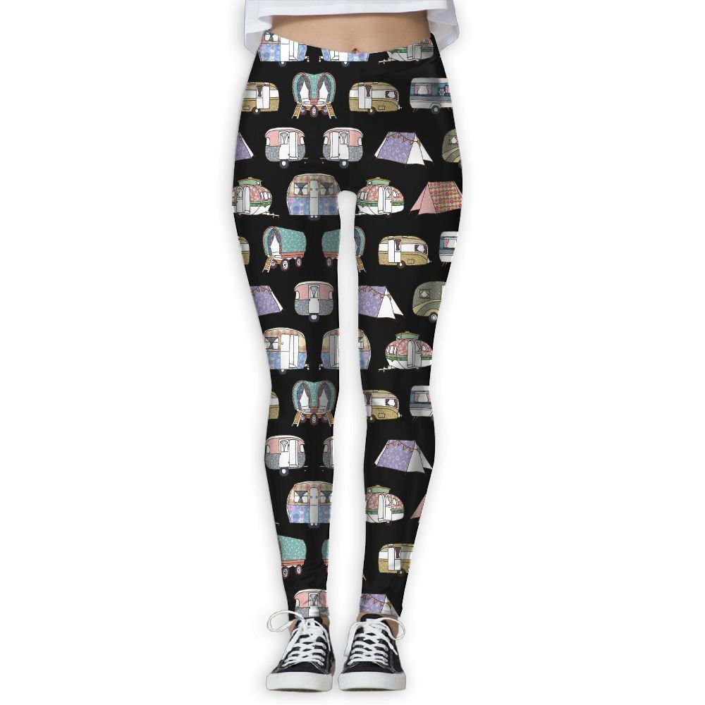 Happy Colorful Camper Womens Tummy Control Sports Running Yoga Workout Leggings Pants M