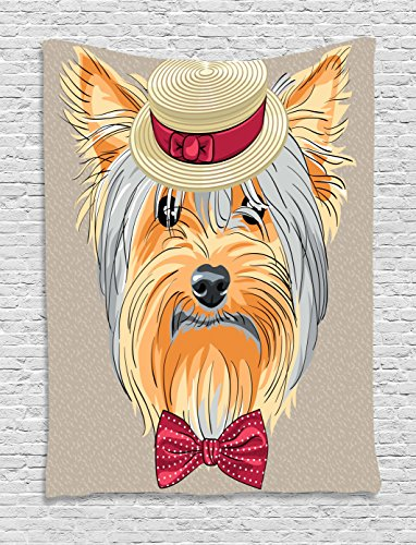 Yorkie Tapestry, Hipster Yorkie with Cute Straw Boater - Doggy Wall Hangings