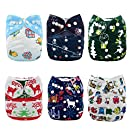 Alva Baby Christmas Design Reuseable Washable Pocket Cloth Diapers Nappies 6 PCS + 12 Inserts 6QD1