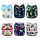 Alva Baby Christmas Design Reuseable Washable Pocket Cloth Diapers Nappies 6 PCS + 12 Inserts 6QD1