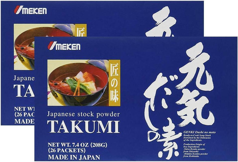 2X Umeken Takumi – Healthy Seasoning with Natural Ingredients Including Kombu, Bonito Extract Powder, Tamogitake Mushroom Extract, Shiitake Mushroom Extract. NO MSG. 52 Packets. Made in Japan