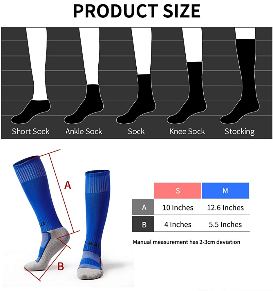 5 Pairs Kids Soccer Socks Boys Girls High Tube Long Knee Athletic Football Socks (4-13 Years) color mess: Clothing