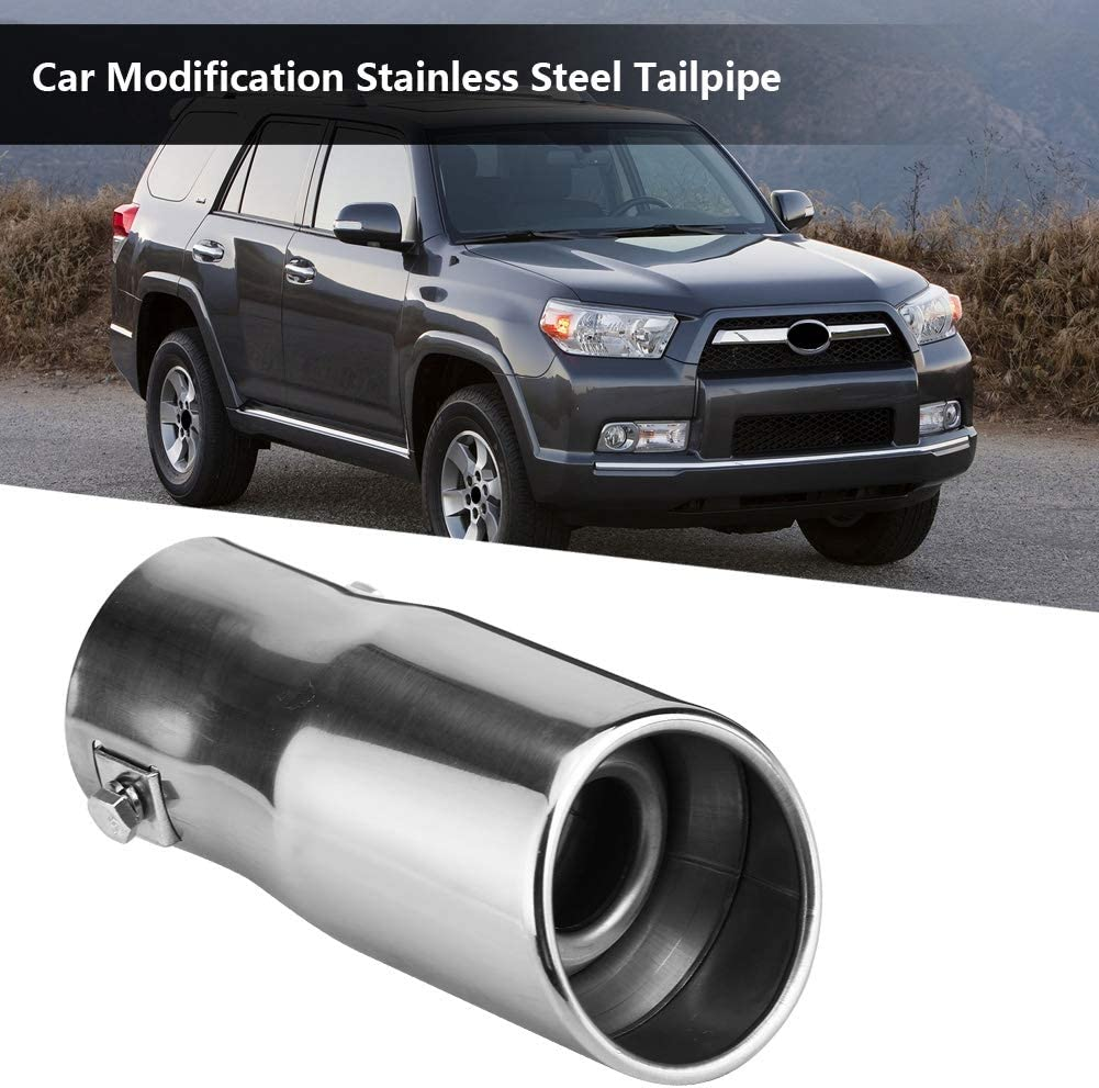 Modification Stainless Steel Exhaust Muffler Pipe Rear Tailpipe End Throat Qiilu Car Exhaust Tailpipe Flat