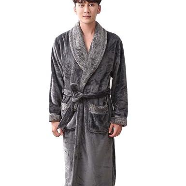 1592d1f75e moxin Mens Soft Warm Flannel Comfortable Cotton Self Tie Long Bathrobe  Dressing Gown Loungewear Robe Grey