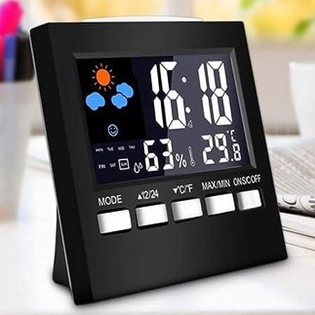 Termómetro Digital Nuevo termómetro Digital higrómetro del Reloj del termómetro Alarma repetitiva Función Calendario Pronóstico del Tiempo de visualización (Color : Negro, tamaño : 90x90x40mm): Amazon.es: Hogar
