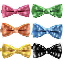 """YOY Handcrafted Pet Bow Tie - Adjustable Neck Tie 11.4""""-18.5"""" Fashion Polka Dots Bowtie Dog Collar Necktie Kitty Puppy Grooming Accessories for Doggie Cat Pack of 6, Multi-colored"""