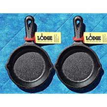 2 Lodge LMS3 3.5 inch Cast Iron Mini Skillet / Spoon Rest / Ashtray Pre-Seasoned