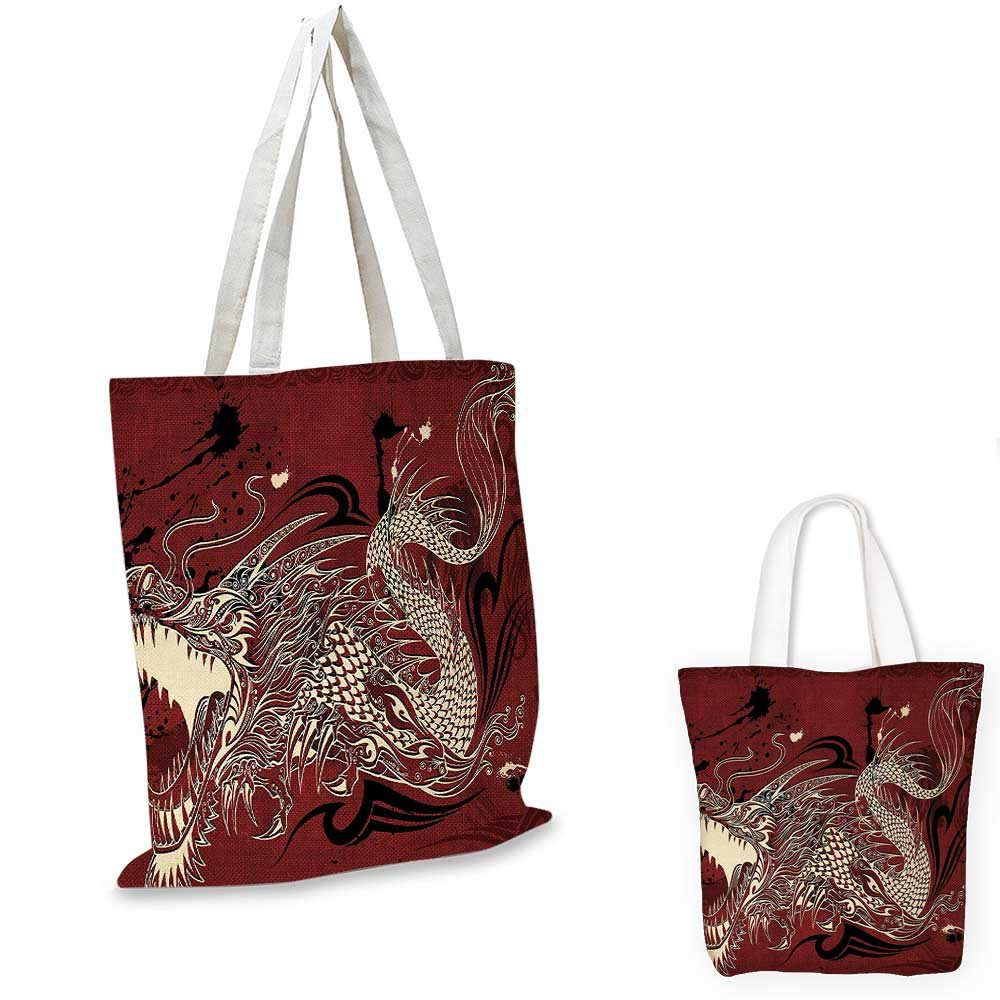 12x15-10 Dragon canvas messenger bag Angry Dragon Doodle on Grunge Background Japanese Mythology Eastern Ethereal Pattern canvas beach bag Ruby Ivory