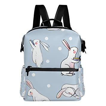 a56e41ef3a ... Cute White Rabbit School Backpack Large Capacity Polyester Rucksack  Satchel Casual Travel Daypack for Adult Teen Women Men Children