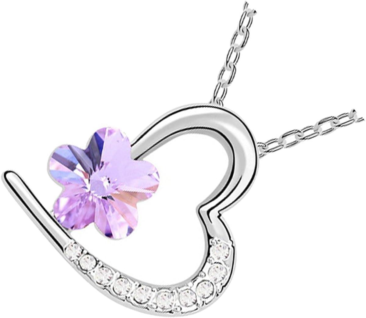 UPCO Jewellery Collar con Pendiente en Forma de Estrella, Adornada con 10 Piezas de Cristal Austríaco, de 19 x 20 MM Bañado en Oro Blanco 18K