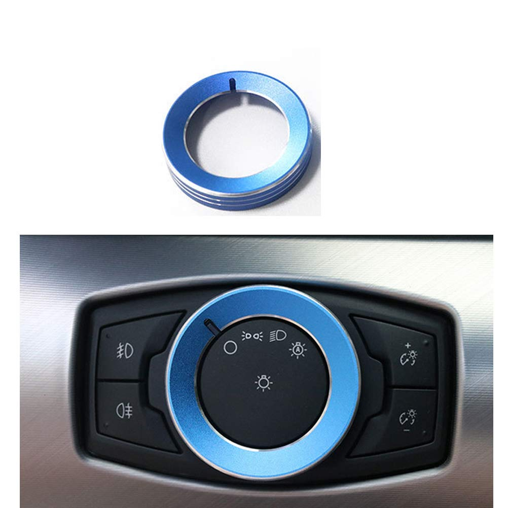 TopDall Blue Aluminum Headlight Volume Tune Control Knob Cover Ring Trim Interior Accessories for Ford Mustang