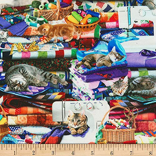 Timeless Treasures Digital Cats On Quilts Multi Fabric by The Yard ()