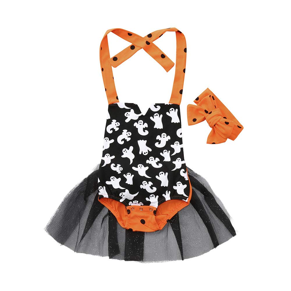Ankola Baby Girls Halloween Romper Tutu Dress Party 2 Pieces Outfits Clothes With Headband Set (6M, Black)