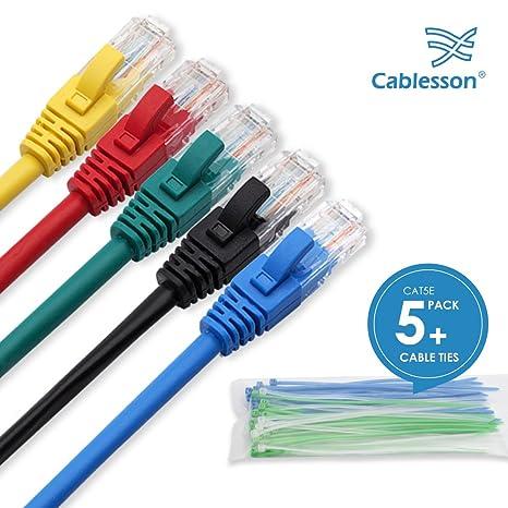Cablesson Cavo Ethernet 1m Cat5e (5 Pack + Clip per Cavo) Cavo di  Collegamento 870f732e0b3c