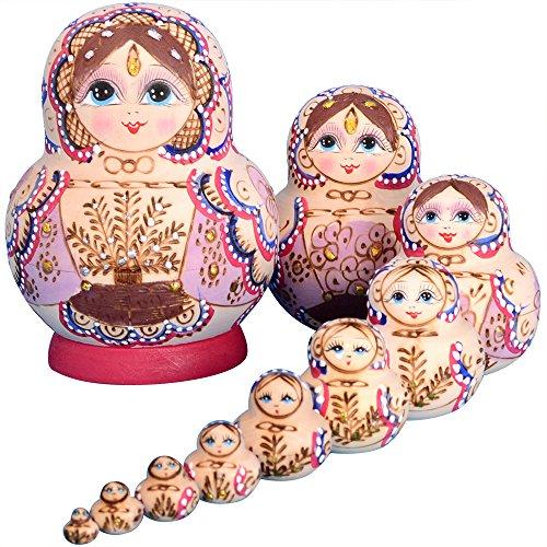 YAKELUS 10pcs Russian Nesting Dolls Matryoshka handmade1075 ()