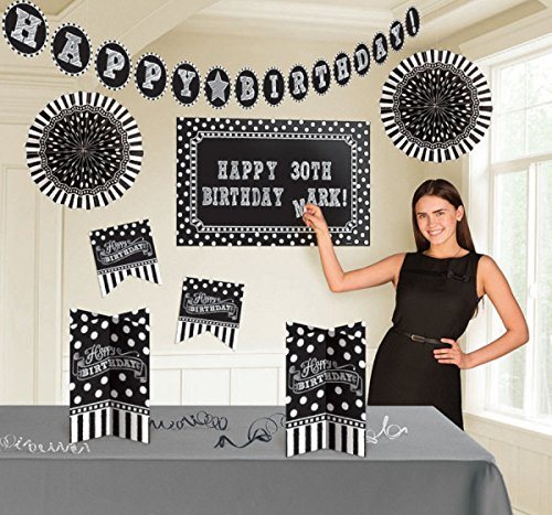 Classic Black and White Birthday Party Customizable Room Decorating Kit , Pack of 11, Multi , Assorted Sizes,
