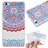 Case for Huawei P8 Lite,Cover for Huawei P8 Lite,Leeook Fashion Creative Transparent Cute Blue Pink Mandala Flower Pattern Design Soft Ultra Thin TPU Silicone Protector Back Rubber Clear Flexible Slim Bumper Shell Mobile Phone Case Cover for Huawei P8 Lite + 1 x Free Black Stylus