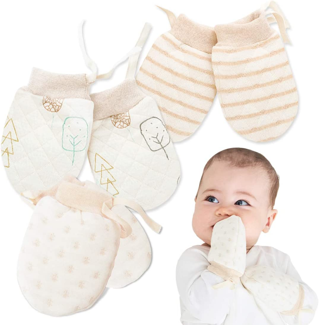 Kalevel Baby Mittens Newborn No Scratch Gloves Warm Cotton for Girls Boys Cold Weather 0-12 Months S, 3 Pairs