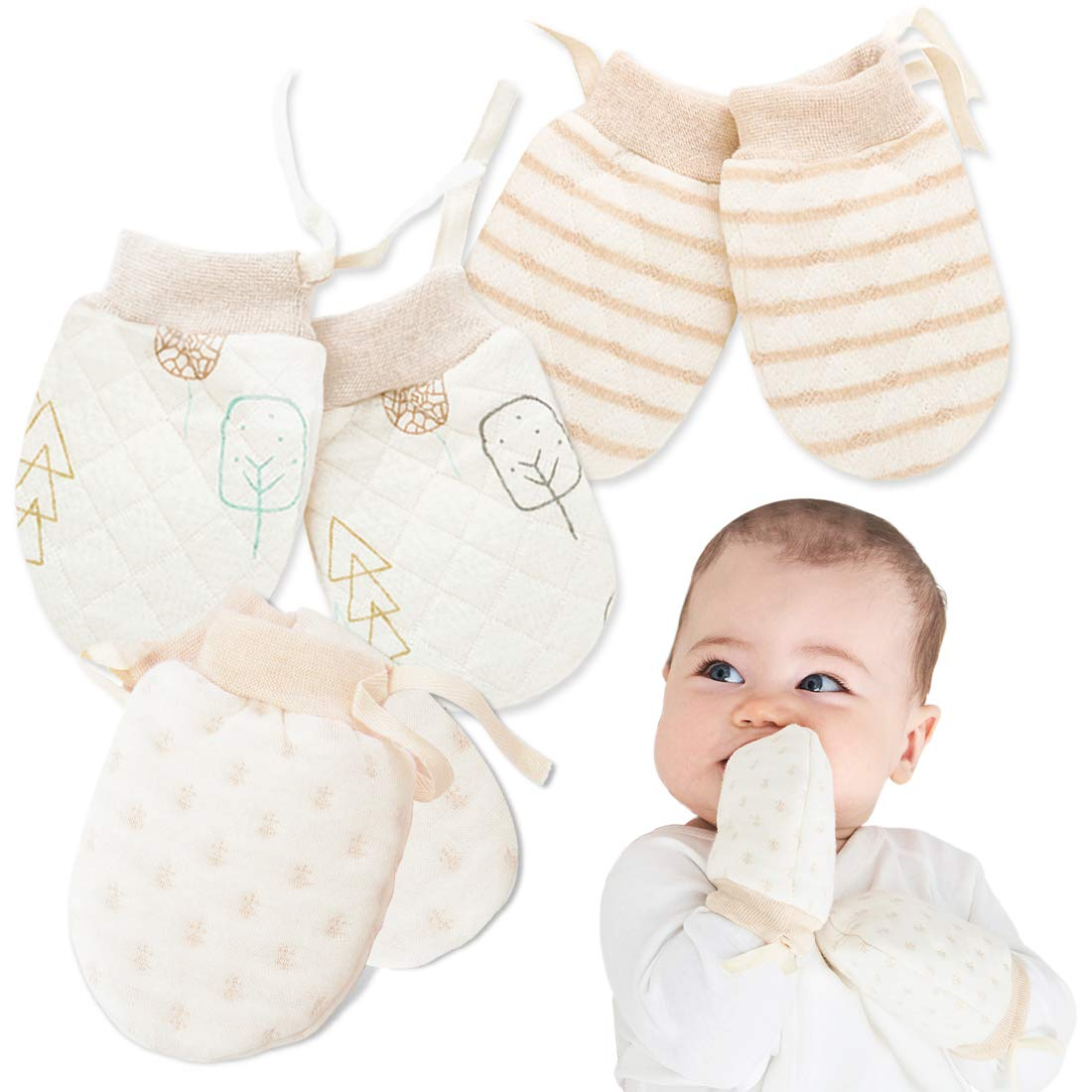 M, 3 Pairs Kalevel Newborn Baby Mittens Boy Girl Anti Scratch Adjustable Thick Mittens with Drawstring 0-2 Years