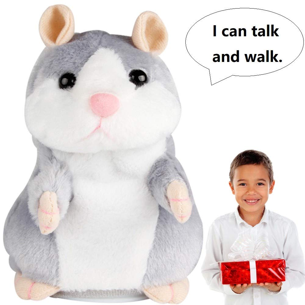 Repeats What You Say and Can Walk Grey WJA Electronic Pet for Kids Gift Party Toys Upgrade Talking Hamster Mouse Toy