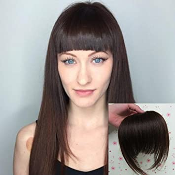 Amazon.com : Human Hair Blunt Bangs with Temple Dark Brown Handmade ...