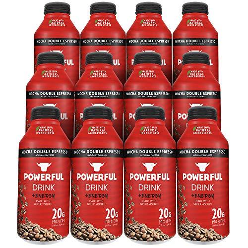Powerful | Mocha Double Espresso | High Protein Greek Yogurt Drink | Gluten-Free | Natural Ingredients | 135mg of Caffeine | 20g Protein (12 Count) ()