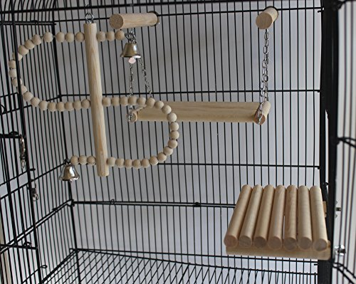 QBLEEV Natural Wood Bird Toys Set Placed in The Bird Cage, Swing Ladder Stand Playground for Small and Medium Parrots Parakeet Conure Cockatiel Budgies Hamster Cage,Pack of 4(No Birdcage Included) ()
