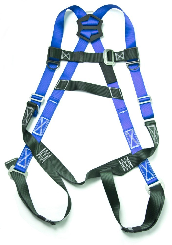 Gulfe Warehouse Adjustable Safety Harness Full-Body Picker w/ Pass Through Legs Black/Blue