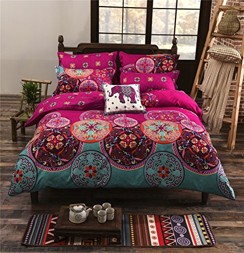 LA MEJOR Queen Size Microfiber Bohemia Exotic Patterns Duvet