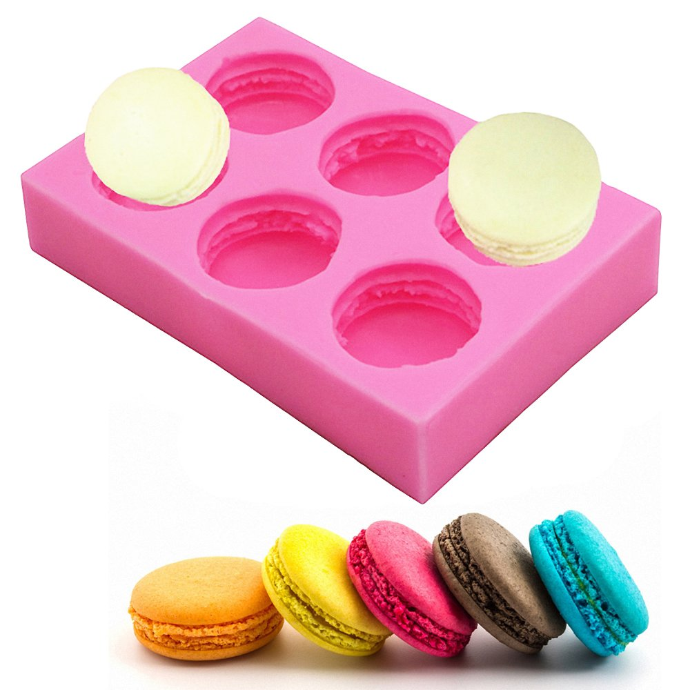 MoldFun 6-Cavity 3D Macaroon/Macaron Hamburger Silicone Mold for Fondant, Cake/Cupcake Decorating, Baking, Gum Paste, Chocolate, Candy, Polymer clay, Mini Soap, Bath Bomb