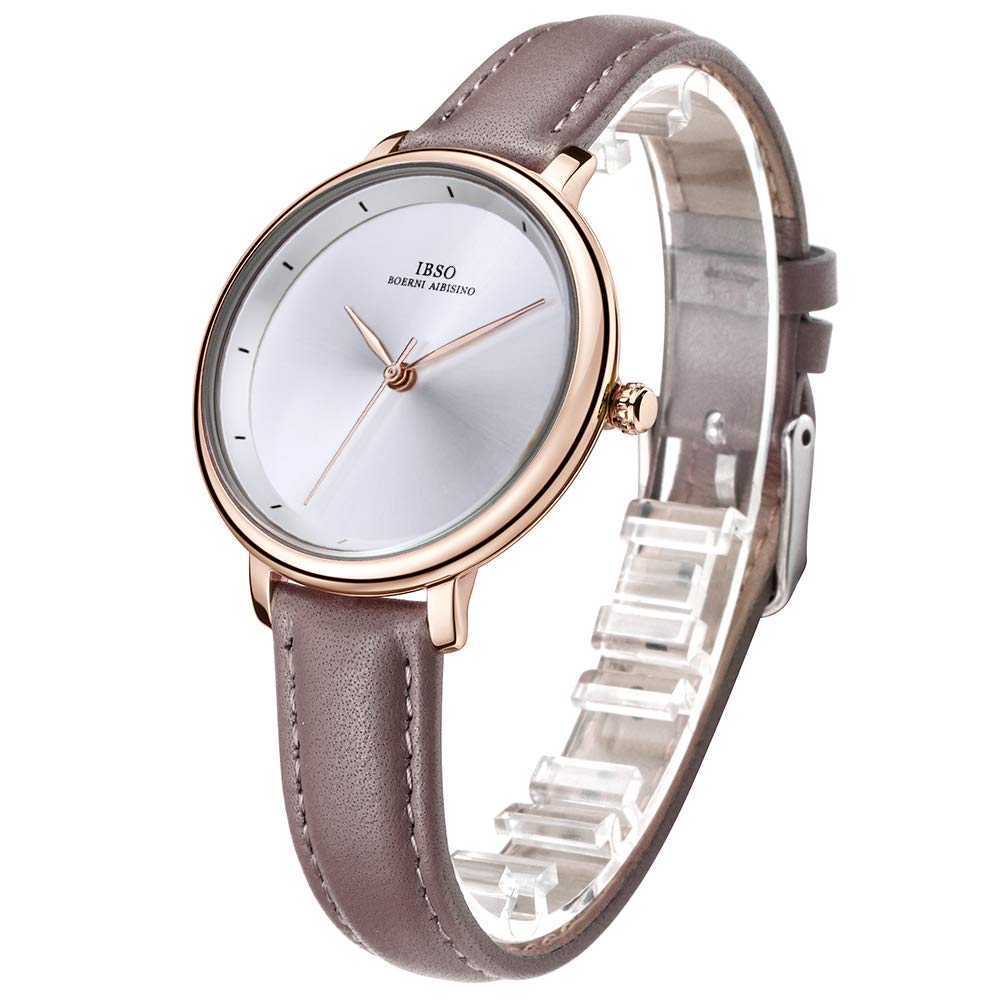 Amazon.com: IBSO Ladies Watches Leather Band Round Case Fashion Women Watches on Sale relojes Mujer (6606-White-Grey): Watches