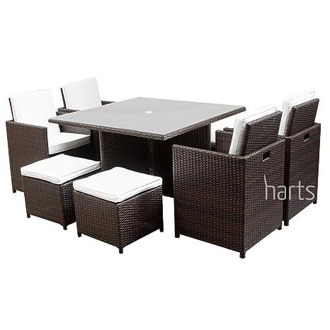 c90bafb0de Harts Premium Rattan Dining Set, Cube 8 Seats Garden Patio Conservatory  Furniture with parasol hole (Brown) inc Rain Cover: Amazon.co.uk: Garden &  Outdoors