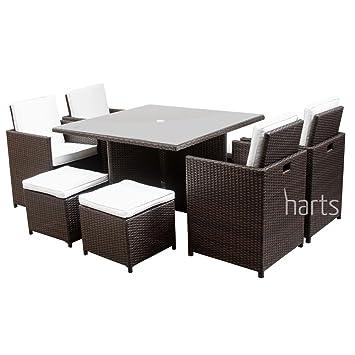 Harts Premium Rattan Dining Set Cube  Seats Garden Patio