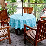 cheerfullus Round Tablecloth with Umbrella Hole,Patio Outdoor Waterproof Stain Resistant Spillproof Elegant Moroccan Table Cover with Zipper for Patio Garden BBQ Tabletop Decor