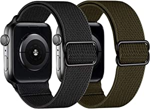 Compatible with Apple Watch Band 38mm 40mm 42mm 44mm Elastic Nylon Braided Thin Wristbands Sport Solo Loop iPhone Watch Bands for iWatch Series SE 6 5 4 3 2 1 for Women Men Replacement Strap 2 Pack